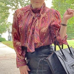 Vintage Red Maroon Blouse Shirt Bow Tie